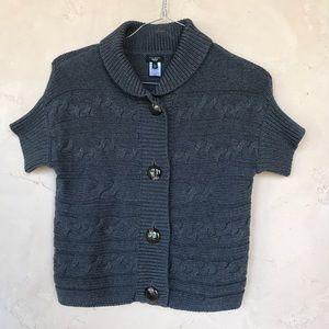 Talbots cable knit petite gray medium sweater
